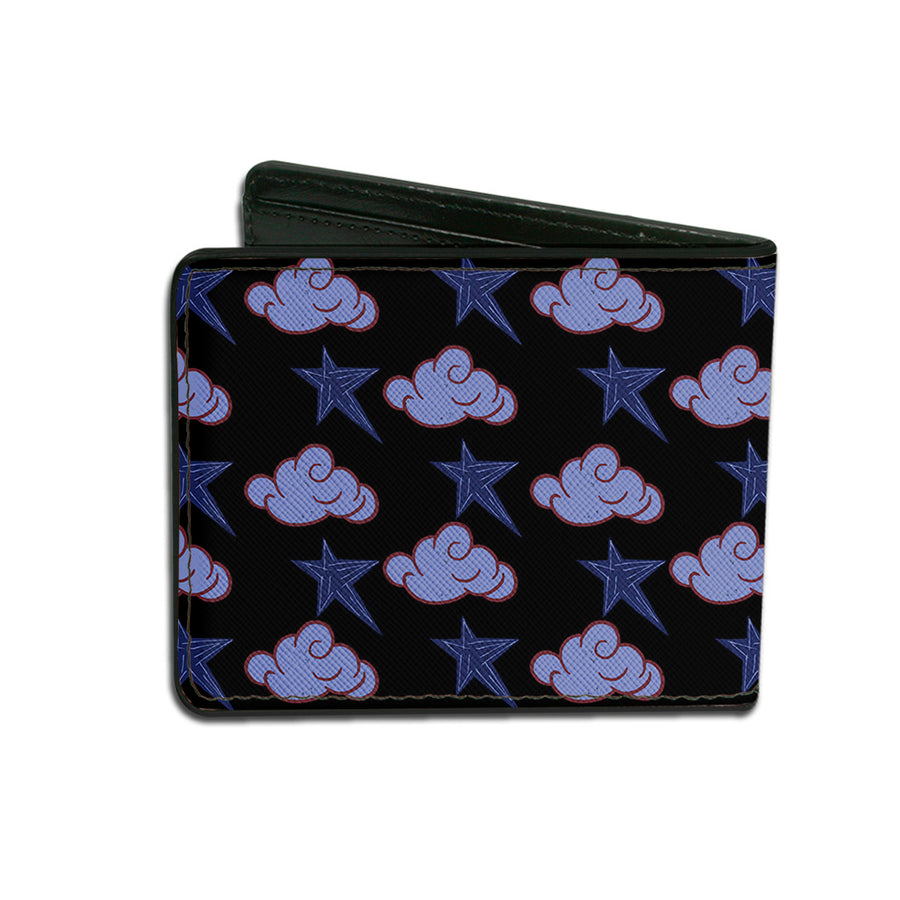Bi-Fold Wallet - Dumbo Smiling DREAMLAND Clouds Stars Black Blues Red