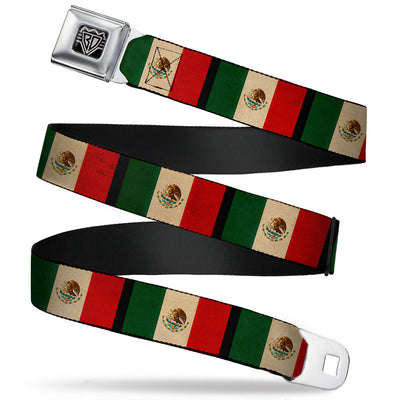BD Wings Logo CLOSE-UP Full Color Black Silver Seatbelt Belt - Mexico Flag Distressed Webbing