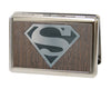 Business Card Holder - LARGE - Superman Logo Marquetry Black Walnut Metal