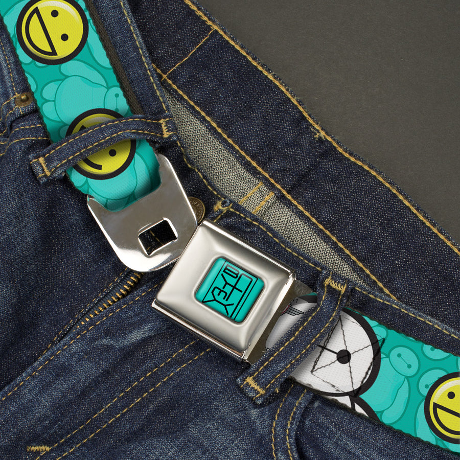 BAYMAX Hanko Full Color Turquoise Black Seatbelt Belt - Baymax/Mood Expressions/Baymax Scattered Turquoise Webbing
