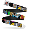 Tom and Jerry Logo Full Color Black Red Seatbelt Belt - TOM & JERRY Poses Black/Multi Color Webbing