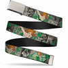 Chrome Buckle Web Belt - POISON IVY Poses/Comic Scenes Grays/Greens Webbing