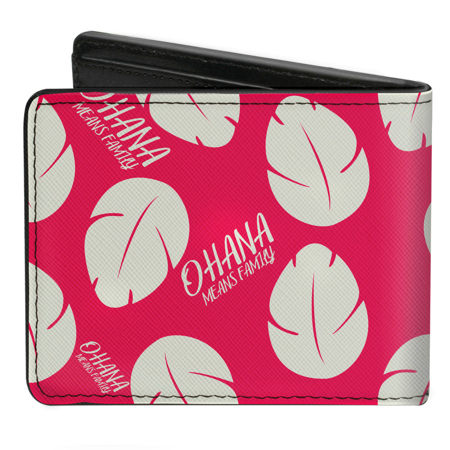 Bi-Fold Wallet - Lilo & Stitch OHANA MEANS FAMILY Bounding Lilo Dress Leaves Red White