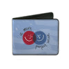 Bi-Fold Wallet - A MORE PERFECT UNION Smiley Faces Blues Gray Red White