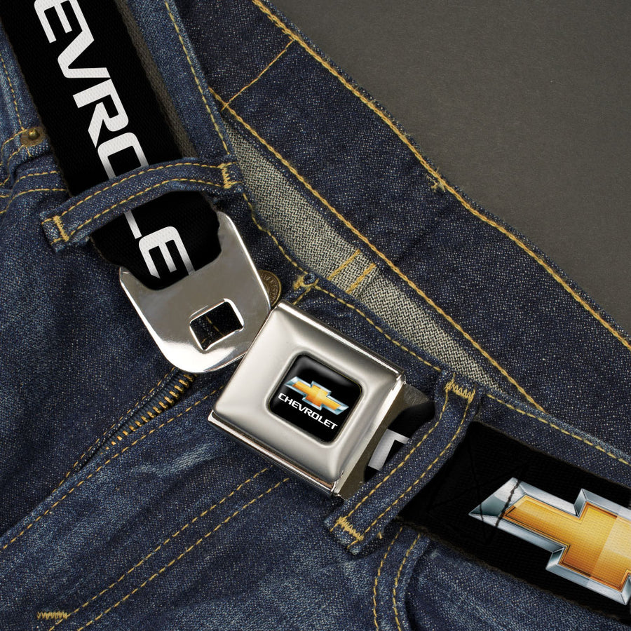 Chevy Bowtie Full Color Black Gold Seatbelt Belt - Chevy Bowtie Black/Gold Logo REPEAT Webbing