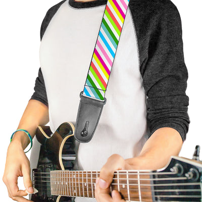 Guitar Strap - Diagonal Stripes White Multi Color