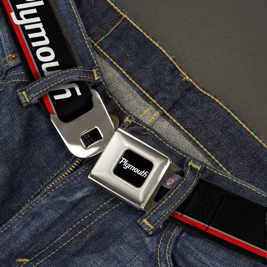 PLYMOUTH Text Logo Full Color Black White Seatbelt Belt - PLYMOUTH Text/Stripe Black/White/Gray/Red Webbing