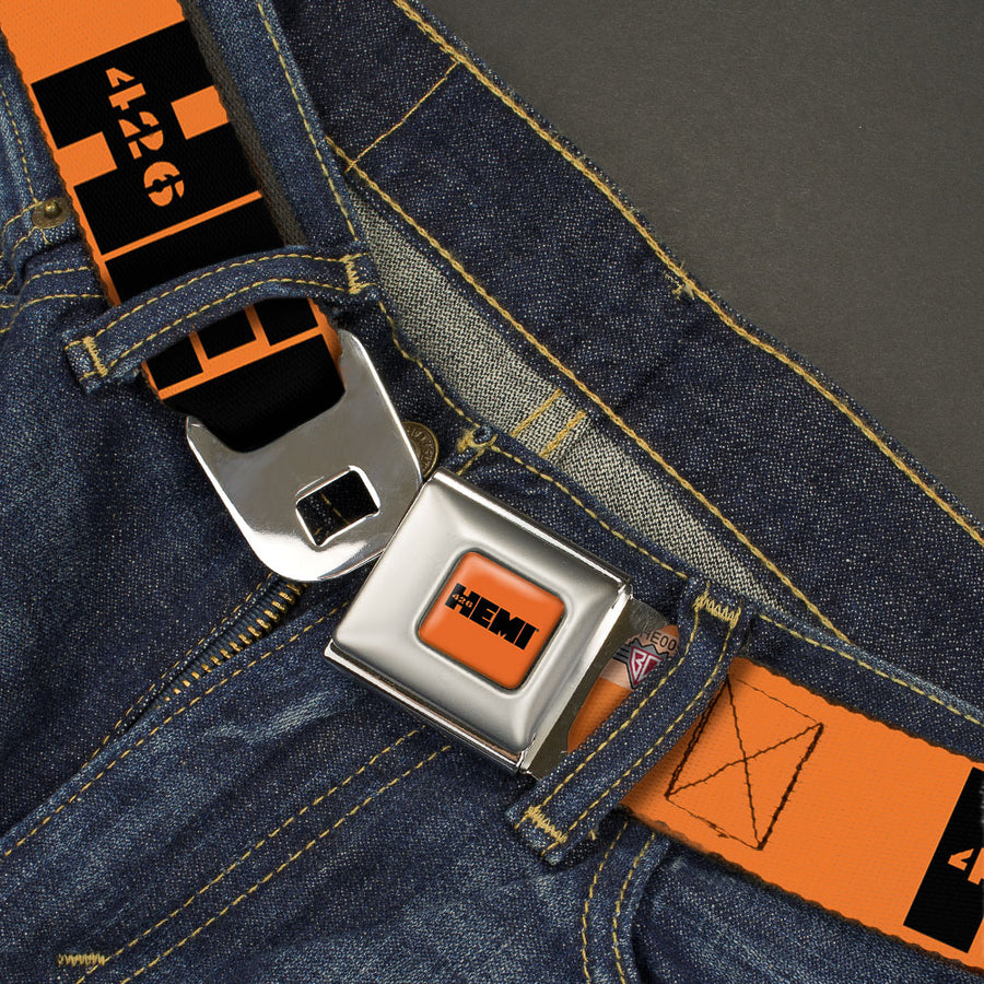 HEMI 426 Logo Full Color Orange Black Seatbelt Belt - HEMI 426 Logo Repeat Orange/Black Webbing