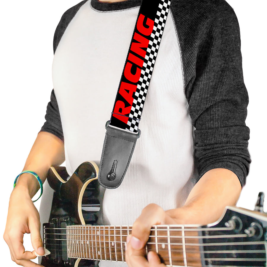 Guitar Strap - RACING w Checker Black White Red