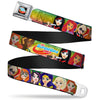 DC SUPERHERO GIRLS Logo Full Color Black Gold Red Blue Seatbelt Belt - DC SUPERHERO GIRLS 9-Character Group Pose Green/Yellow/Pink-Fade Webbing