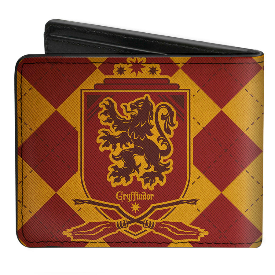 Bi-Fold Wallet - Harry Potter GRYFFINDOR Shield Brooms Argyle Gold Burgundy Reds