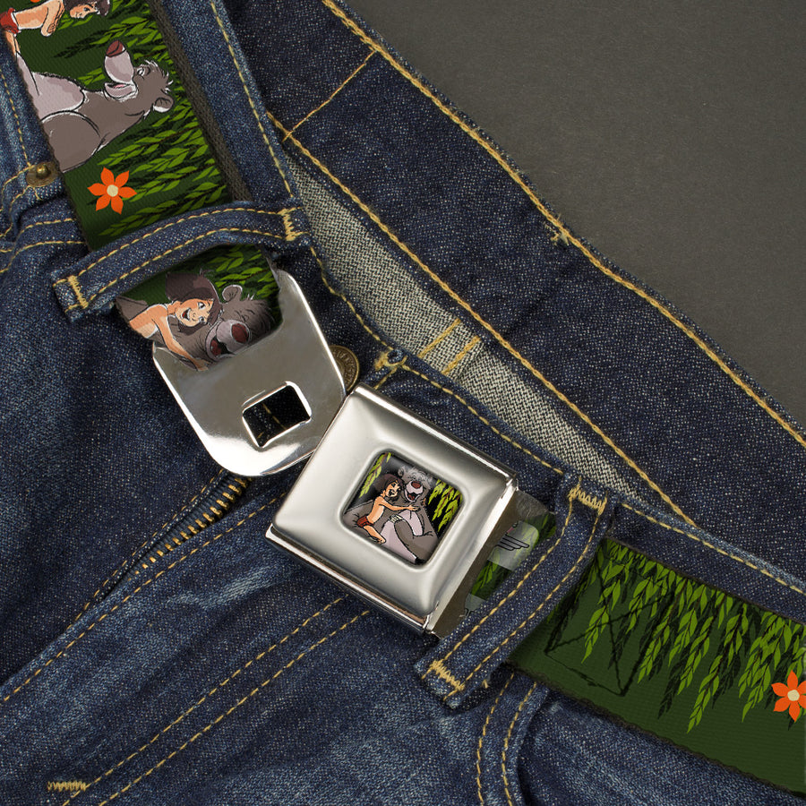 Mowgli & Baloo Hugging Leaves Full ColorBlack Greens Seatbelt Belt - Mowgli & Baloo 3-Poses Leaves/Flowers Greens/Orange Webbing