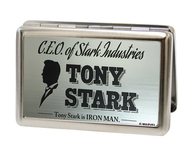 MARVEL AVENGERS Business Card Holder - LARGE - CEO OF STARK INDUSTRIES TONY STARK Brushed Silver Black