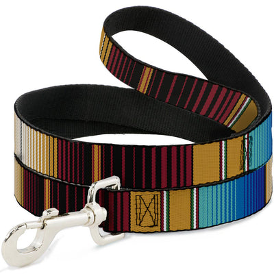 Dog Leash - Zarape6 Vertical Stripe Gold/Blues/Black/Red