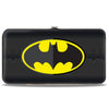 Hinged Wallet - Batman Icon Centered Bat Signal Stripe Black Yellow Grays