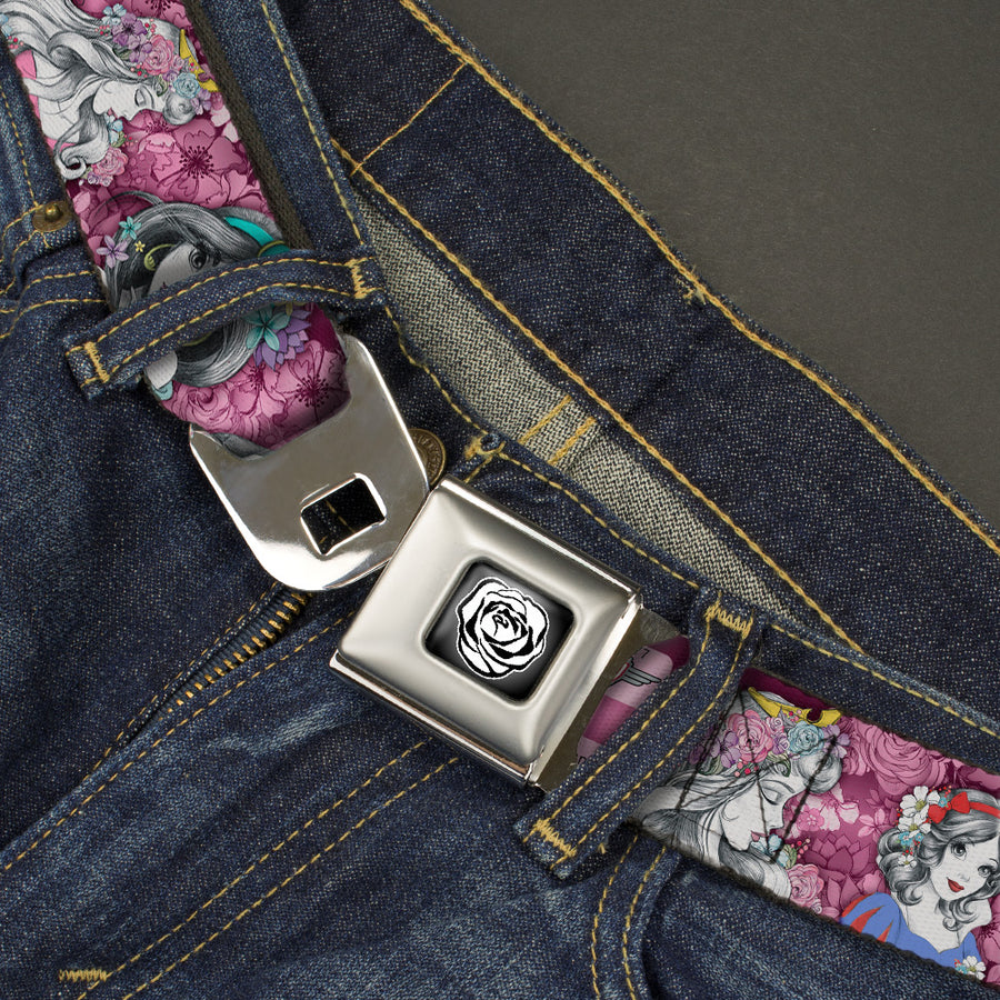 Princess Rose Full Color Grays White Black Seatbelt Belt - Princess Sketch Poses/Floral Collage Pinks/Grays Webbing