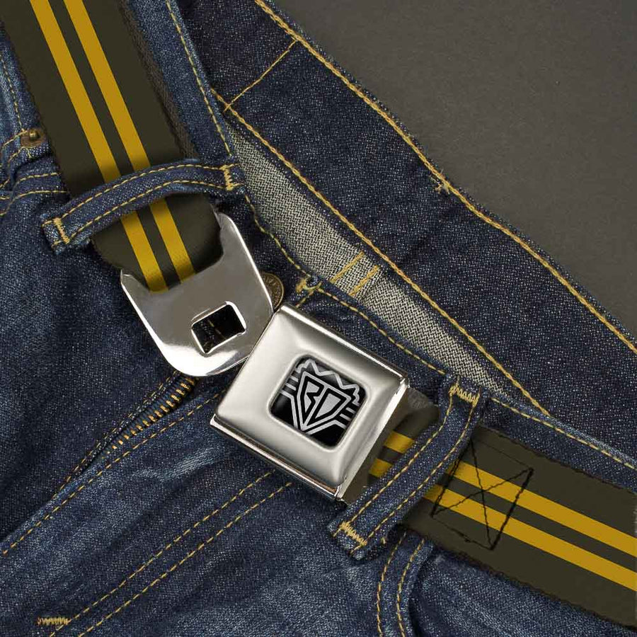 BD Wings Logo CLOSE-UP Full Color Black Silver Seatbelt Belt - Stripe Black/Gold Webbing