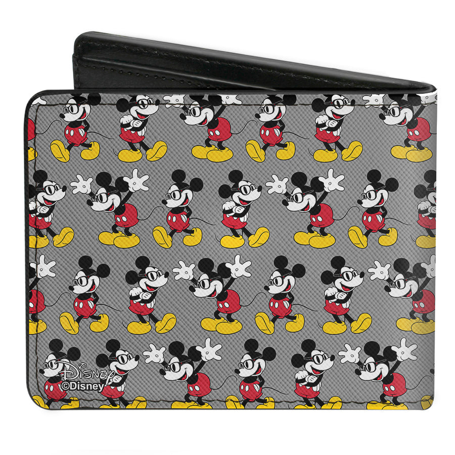 Bi-Fold Wallet - Nerdy Mickey Mouse 3-Pose Stripe Gray