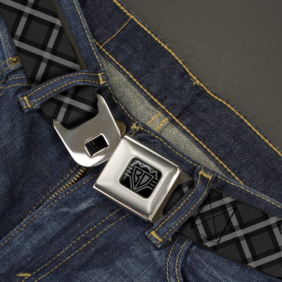 BD Wings Logo CLOSE-UP Black/Silver Seatbelt Belt - Buffalo Plaid X Charcoal/Black/Gray Webbing