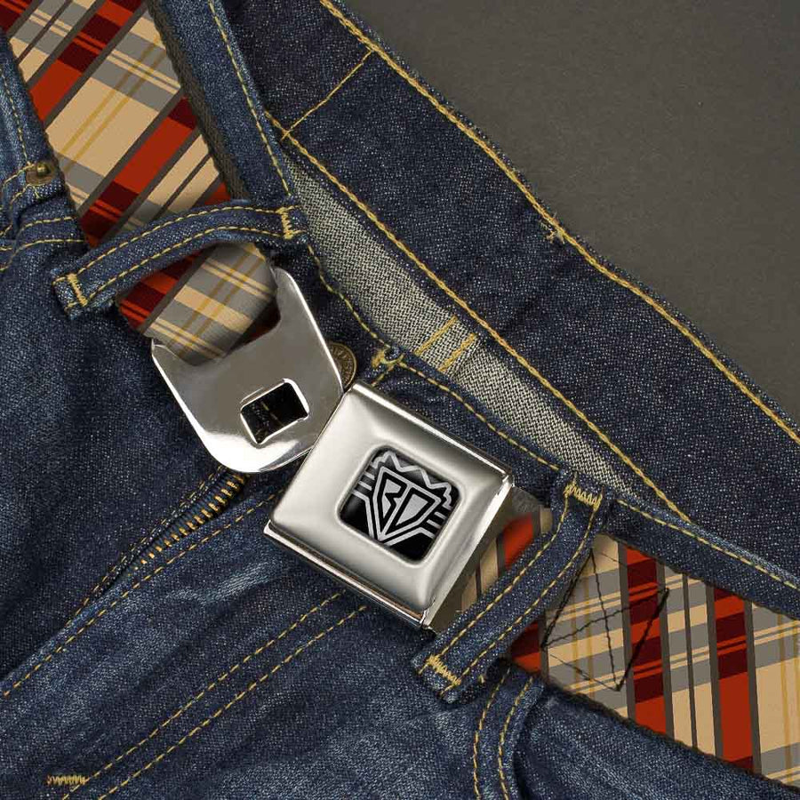 BD Wings Logo CLOSE-UP Full Color Black Silver Seatbelt Belt - Americana Plaid X Webbing