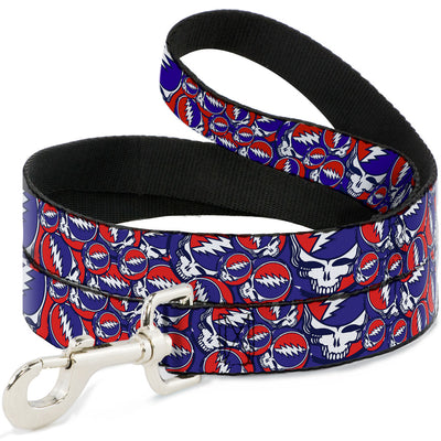 Dog Leash - Steal Your Face Stacked Red/White/Blue