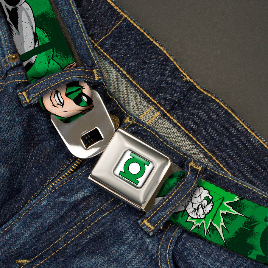 Green Lantern Logo CLOSE-UP White Green Seatbelt Belt - Green Lantern Green Glow w/Text Webbing