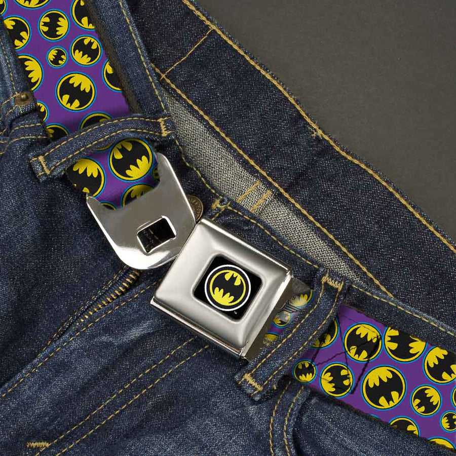 Bat Signal Full Color Black White Yellow Seatbelt Belt - Bat Signal Scattered Purple/Blue/Yellow/Black Webbing