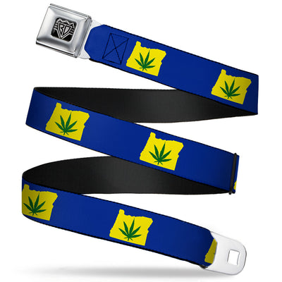 BD Wings Logo CLOSE-UP Full Color Black Silver Seatbelt Belt - Oregon State Silhouette/Marijuana Leaf Blue/Yellow/Green Webbing
