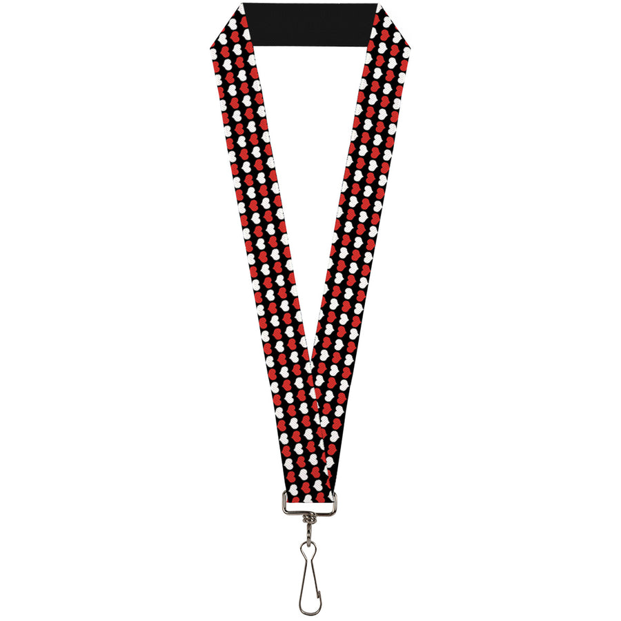 "Lanyard - 1.0"" - Mini Hearts Black Red White"