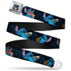 Stitch Smiling CLOSE-UP Full Color Black Seatbelt Belt - Stitch Snacking Poses Black/Blue Webbing