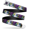 The Little Mermaid Ursula Swirl Full Color Black/Purple Seatbelt Belt - The Little Mermaid Ursula Smiling Sketch Pose/Shells/Kelp Purples/Yellows/Blues Webbing