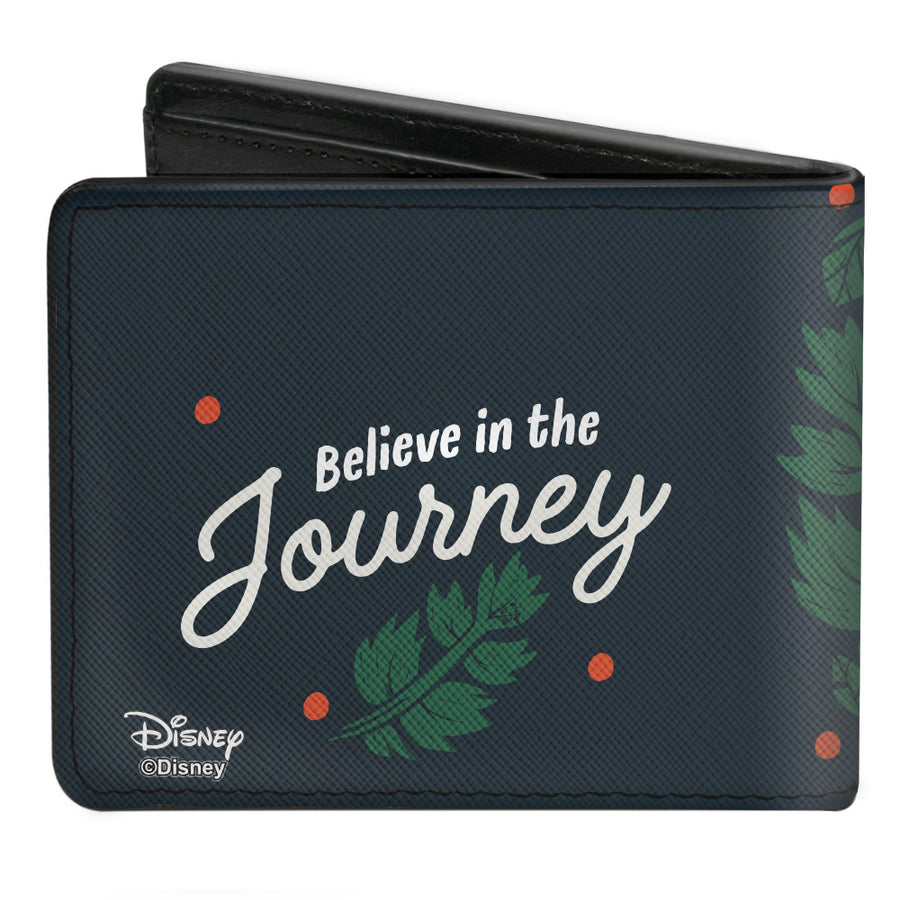Bi-Fold Wallet - Frozen II Kristoff & Sven Pose + BELIEVE IN THE JOURNEY Leaves Woodcut Black Green White