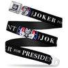 Joker Presidential Seal Full Color Black White Blue Red Seatbelt Belt - THE JOKER FOR PRESIDENT/Joker Presidential Seal CLOSE-UP Black/White/Blue/Red Webbing