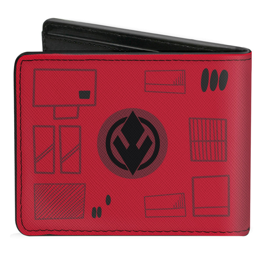 Bi-Fold Wallet - Star Wars Sith Trooper Face + Sith Trooper Insignia Red Gray Black