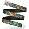 Posion Ivy Face Full Color Greens Seatbelt Belt - POISON IVY Poses/Comic Scenes Grays/Greens Webbing