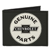 Canvas Bi-Fold Wallet - 1920 GENUINE CHEVROLET PARTS Seal Charcoal Tan