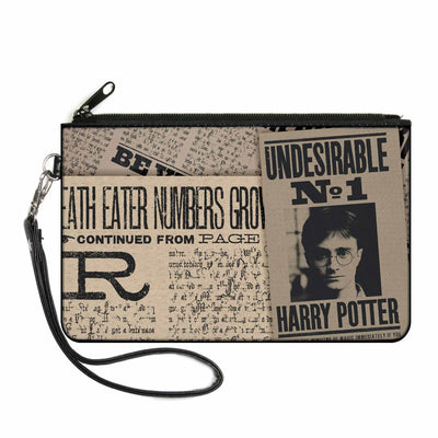 Canvas Zipper Wallet - LARGE - Harry Potter Newspaper Headlines UNDESIRABLE NO 1