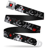 Apple Glow Full Color Black Red Seatbelt Belt - SNOW WHITE Apple Poses/Butterflies Black/Gray/Red Webbing