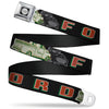 Ford F-100 Logo Full Color Black Grays Seatbelt Belt - FORD/Classic Ford Trucks Vertical Stripe Black/Grays/Green/Red Webbing