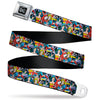DC Round Logo Black/Silver Seatbelt Belt - DC Comics 3-Superheroine/2-Villain Character Collage Webbing