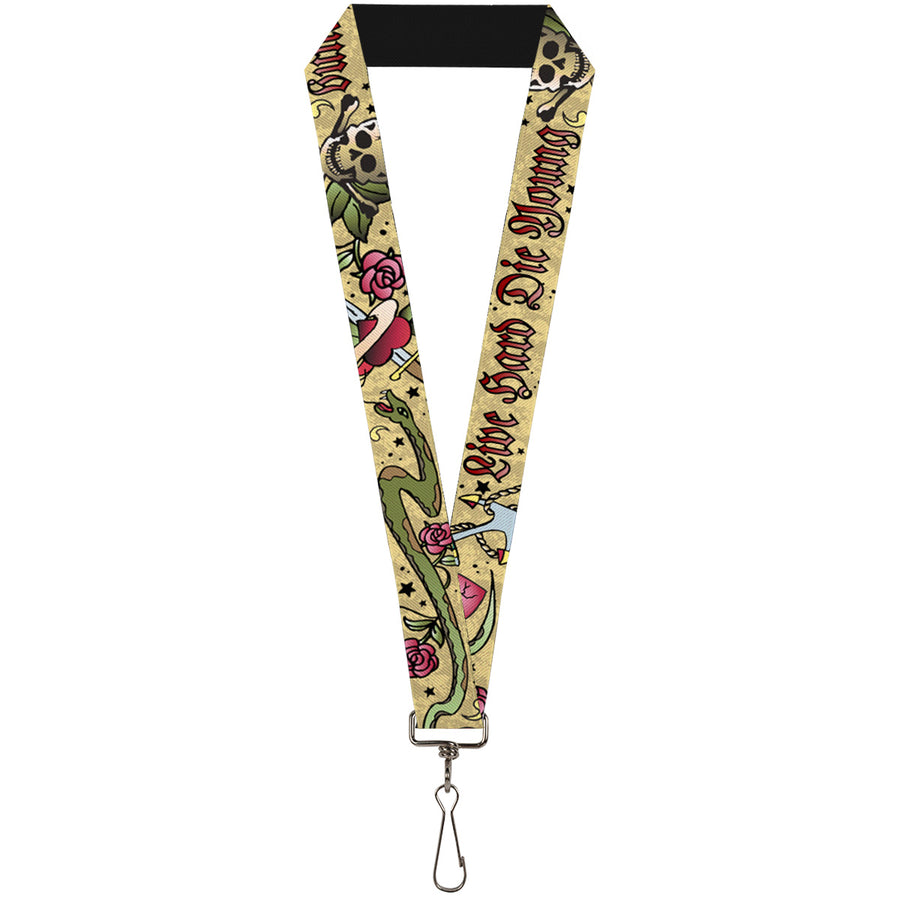 "Lanyard - 1.0"" - Live Hard Die Young Tan"