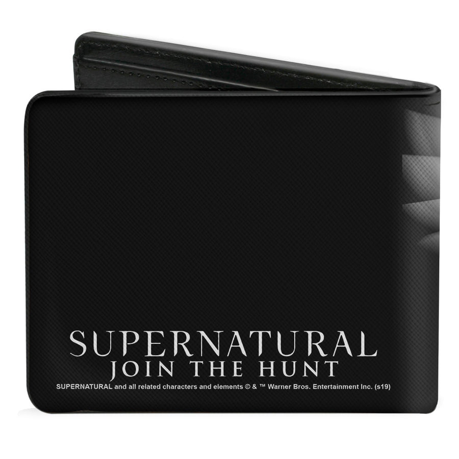 Bi-Fold Wallet - SUPERNATURAL Castiel Angel Wings Pose + Logo Black White