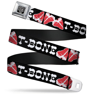 BD Wings Logo CLOSE-UP Full Color Black Silver Seatbelt Belt - Steaks w/T-BONE Text Webbing