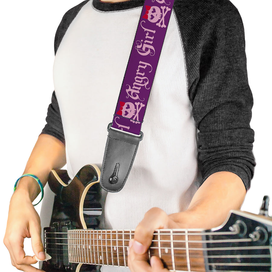 Guitar Strap - Angry Girl Purple Pink