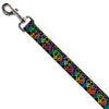 Dog Leash - Peace Hearts Stacked Black/Neon