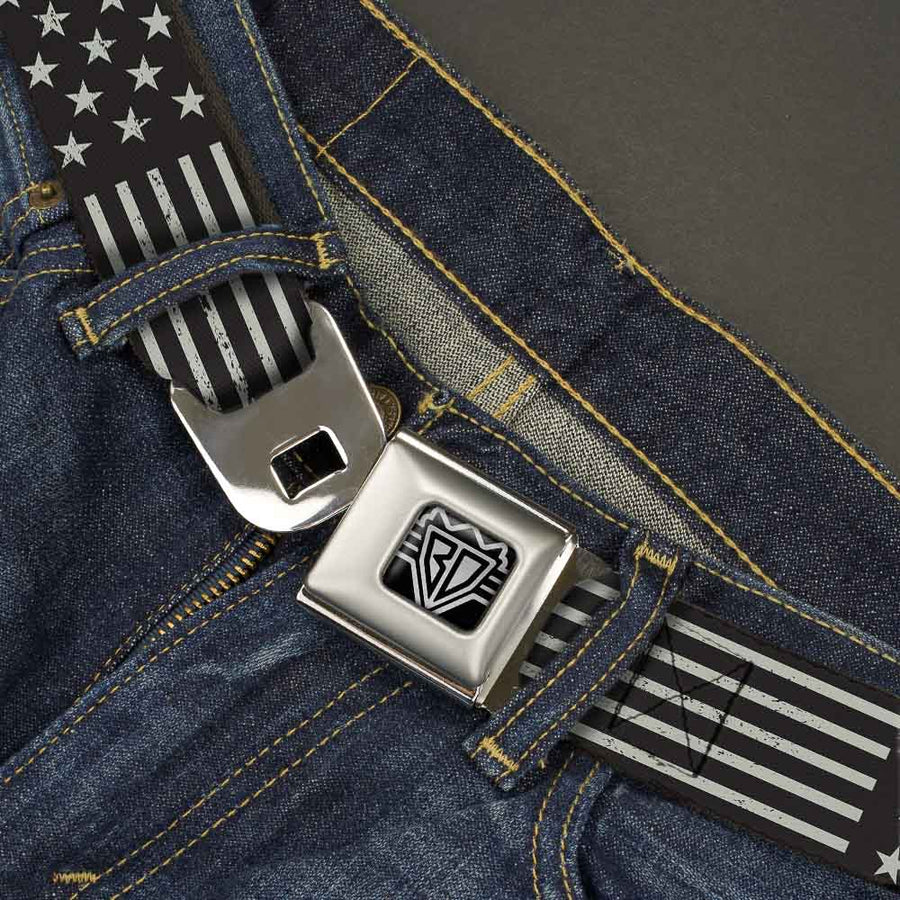 BD Wings Logo CLOSE-UP Full Color Black Silver Seatbelt Belt - Americana Stars & Stripes2 Weathered Black/Gray Webbing