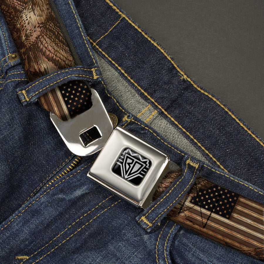 BD Wings Logo CLOSE-UP Full Color Black Silver Seatbelt Belt - Americana Eagle & Flag Rustic Wood Grain Webbing