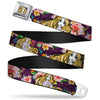 Rapunzel Sketch Full Color Seatbelt Belt - Rapunzel Poses/Floral Collage Sketch Purple Webbing