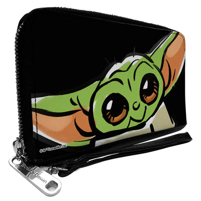 Women's PU Zip Around Wallet Rectangle - Star Wars The Child Smiling Impression Painting Tilt Black