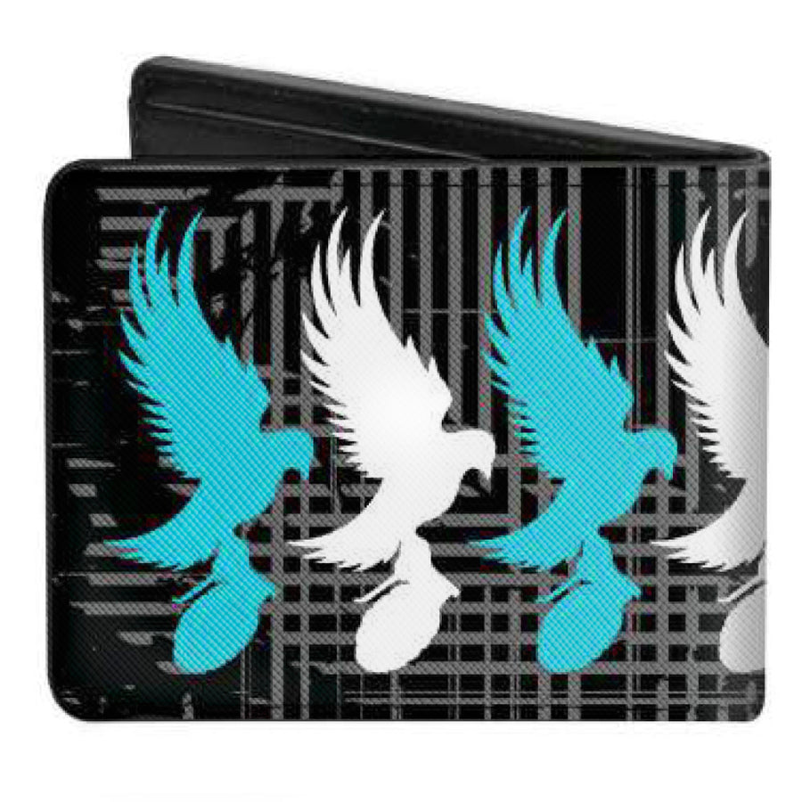 Bi-Fold Wallet - Hollywood Undead Dove & Grenade Logo Striping Black Gray Teal White